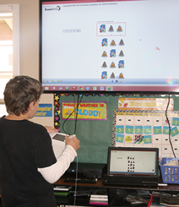 Student using the Mobi board.